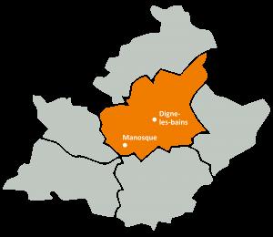 Carte de la zone d'intervention de l'URAPEDA SUD sur le département des Alpes de Hautes Provence