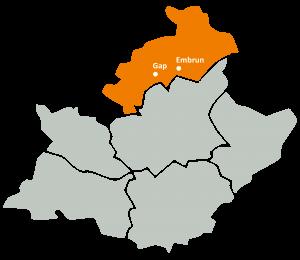 Carte de la zone d'intervention de l'URAPEDA SUD sur le département des Hautes Alpes