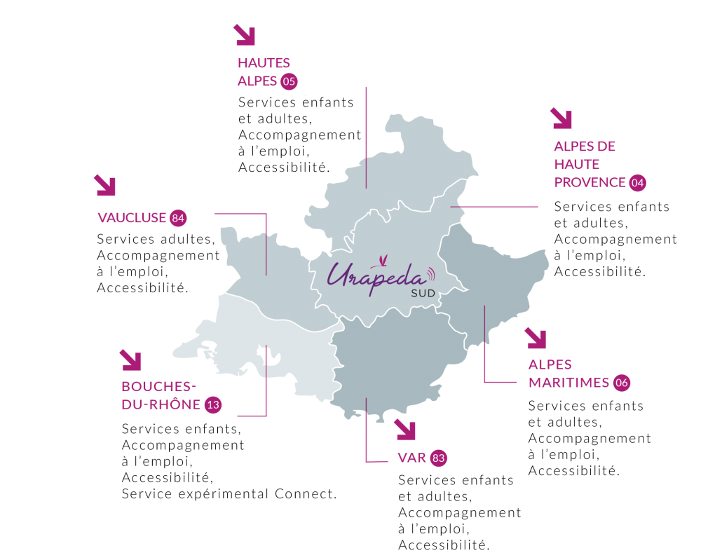 Carte de la région Sud PACA regroupant l'ensemble des services de l'URAPEDA SUD