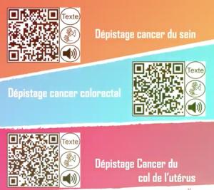Illustration des QR codes pour l'accessibilité des courriers d'invitation pour le dépistage du cancer