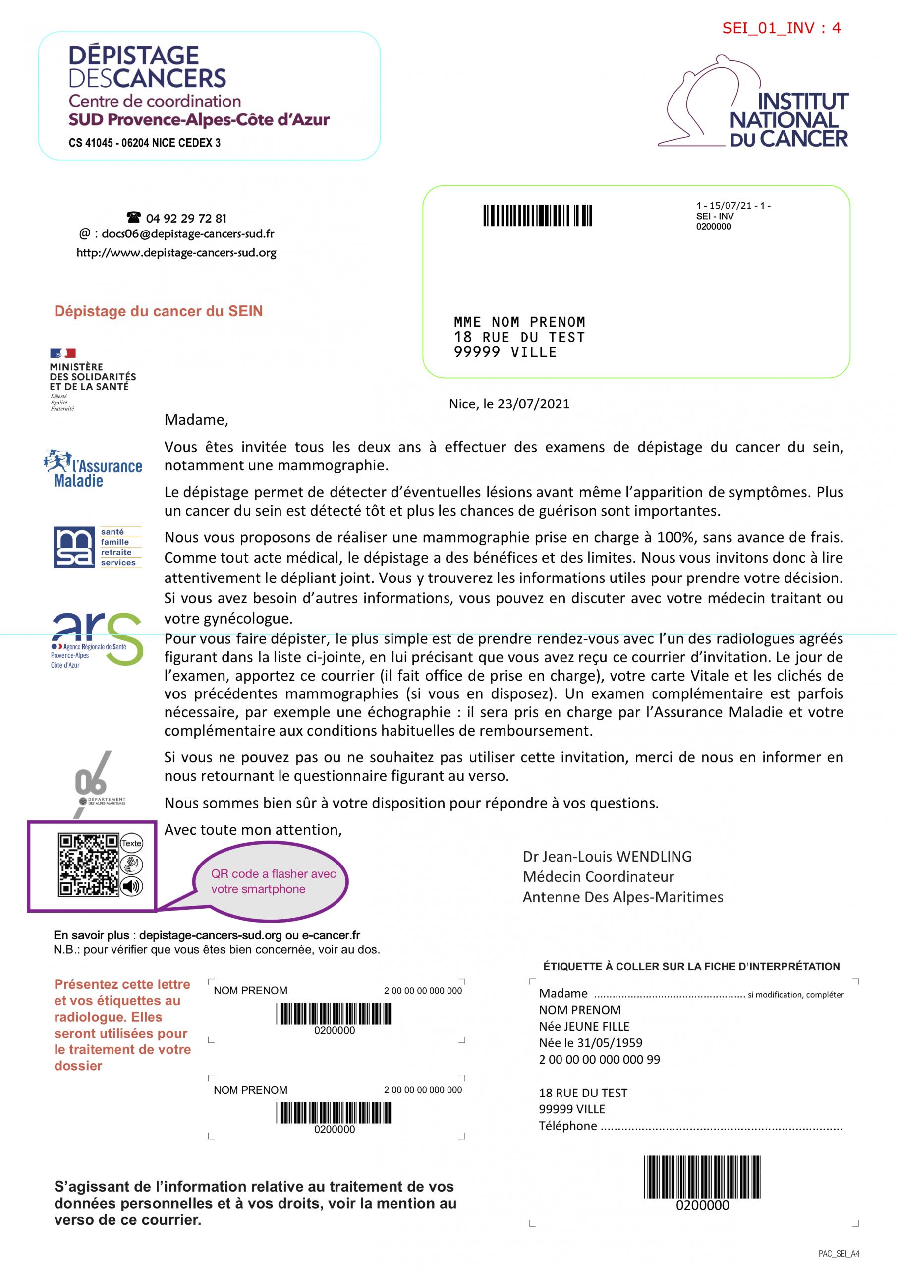 Exemple de courrier accessible pour le dépistage du cancer proposé par le CRCDC SUD PACA en partenariat avec l'URAPEDA SUD